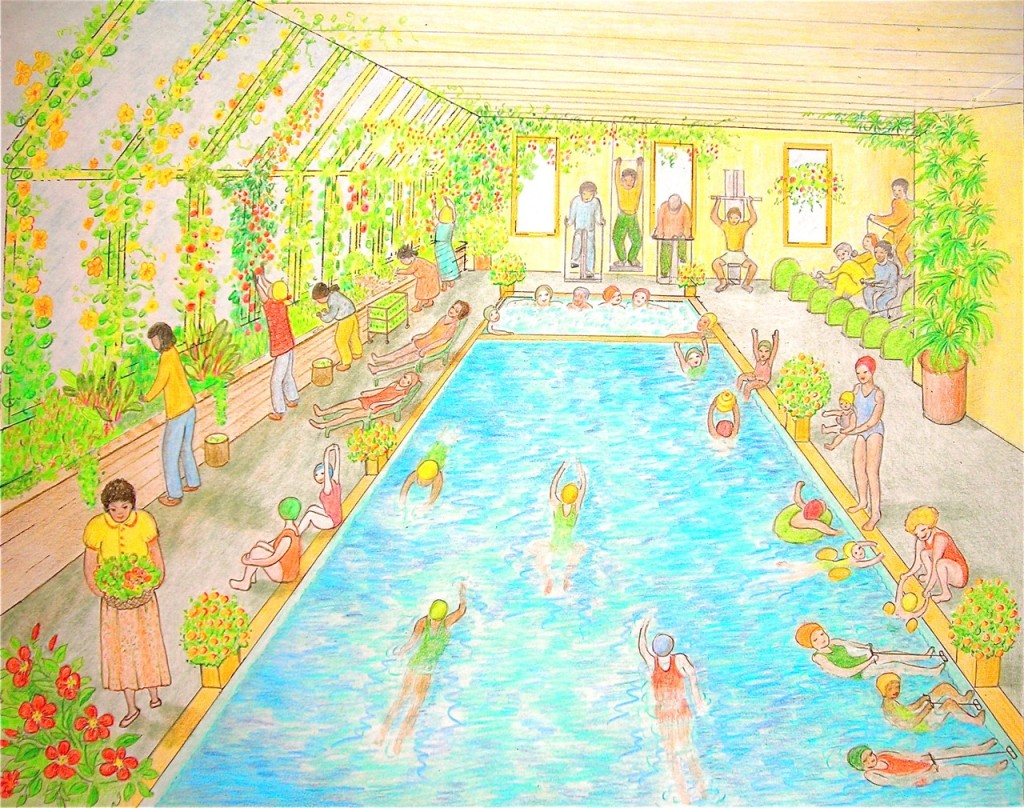 The greenhouse spa on the ground floor of those apartment buildings.