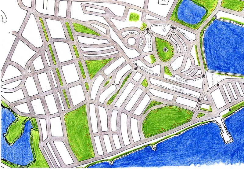 This is a map of the Town of Oak Bluffs, on Martha's Vineyard, showing how Greenfilters could have been placed in various park areas in and around town to treat the wastewater. Instead Oak Bluffs built a conventional sewage treatment facility to treat just a small portion of the wastewater, costing some $18 millions, which has already failed several times already.